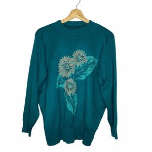 Turquoise Floral Granny Sweater